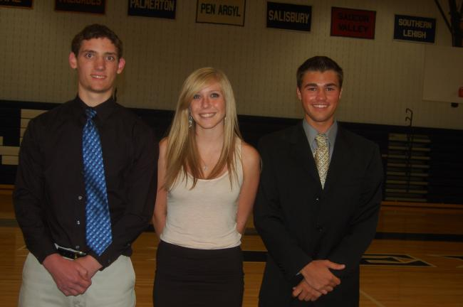 TERRY AHNER/TIMES NEWS  Among the Northern Lehigh High School students honored at the Senior Academic Achievement Awards ceremony held recently in the high school auditorium were (l-r) Seth Bergeris-Cortright; Victoria Uebele, and Marcus Neith.