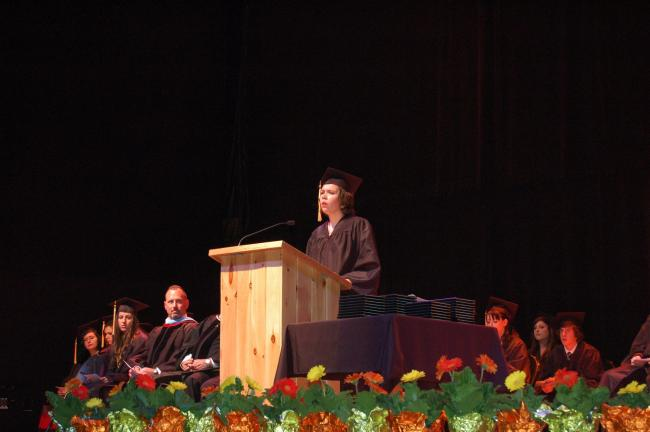 Katelyn Winters, of Lehighton, spoke at the Commonwealth Connections Academy graduation Wednesday night at Penn's Peak.