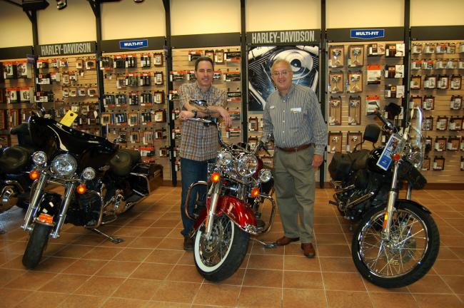 Gail Maholick/TIMES NEWS Robert Eggstein, left, new owner of Keystone Harley Davidson, purchased the Harley-Davidson division from Blocker Enterprises, while Dennis Blocker has retained the Kawasaki and Yamaha line. For the present time, both…