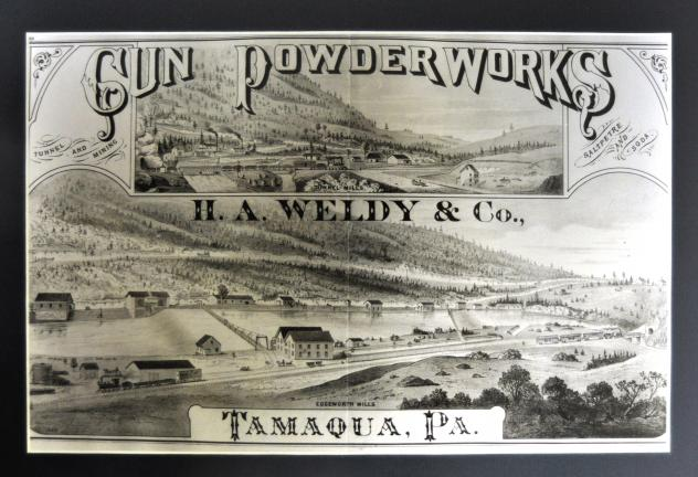 A late 1800s lithograph depicts the Weldy plant, with the Tamaqua Tunnel visible far right.