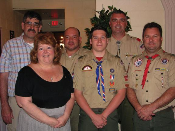 LIZ PINKEY/SPECIAL TO THE TIMES NEWS Jeremy Thomas (front, center) recently earned his Eagle Scout Award. Attending the ceremony were (front, left to right) his mother, Donna Thomas and Chris Santore, Scout Master Troop 744 (back, left to right) his…