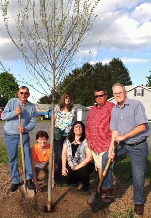 ANDREW LEIBENGUTH/TIMES NEWS Pictured taking part in the tree planting were Rush Township Bicentennial Committee members, from left, Walter J. Taylor, Kathy Taylor, Marie Skripnek, Ann Marie Calabrese, Stephen Simchak and Harry Eisley.