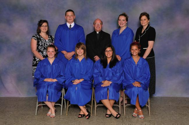 SPECIAL TO THE TIMES NEWS Graduation ceremonies were held at Ss. Peter and Paul School, Lehighton. Graduating students graduating from eighth grade were, from left, front row, Emily Mriss, Sierra Volkert, Katelyn Hosler, and Tamra Haupt; and back…