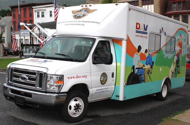 ANDREW LEIBENGUTH/TIMES NEWS Pictured staged recently in the Tamaqua American Legion parking lot is the DAV's Mobile Service Office (MSO) van, which travels from various communities educating and assisting disabled veterans concerning benefits and…