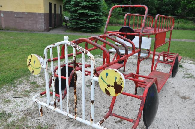 RON GOWER/TIMES NEWS A rusting fire truck at the Ginder Field playground in Summit Hill will likely be painted this summer, according to the Summit Recreation Commission. In addition, five new rides are planned for the playground.