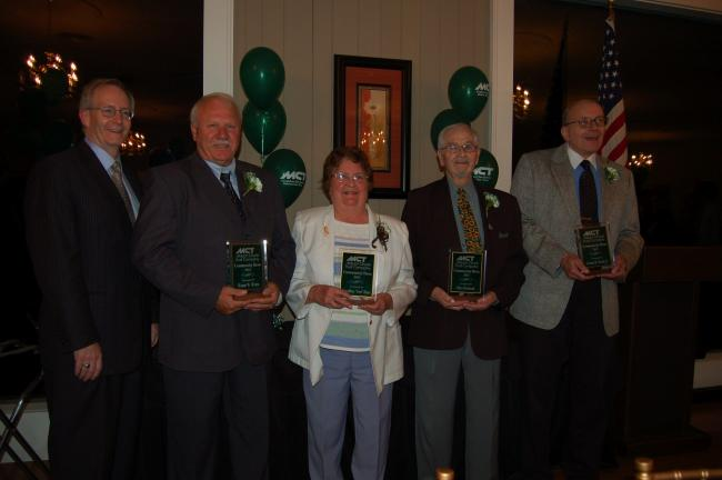 "Gail Maholick/TIMES NEWS Mauch Chunk Trust Company held its 12th annual Community Heroes Banquet. From left is Patrick H. Reilly, president and CEO of MCTC and honorees are, Wayne Wentz of Franklin Township, Geraldine ""Geri"" Haas of Lehighton, Otto…"