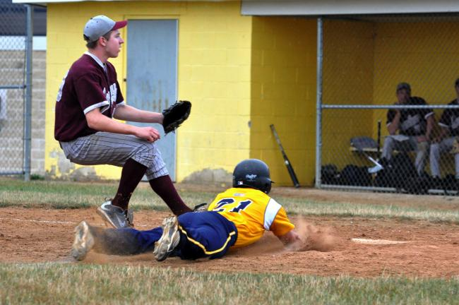 mike feifel/times news Payton Buchman of Northern Valley slides home safely as Coplay pitcher Tyler Svetik covers.