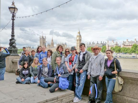 Special to the TIMES NEWS The Travel Club, taken across the Thames Rivers in front of Big Ben and the Palace of Westminster in London. Pictured are (front row, l-r) Alex Sestok, Cheyanne Williams, Rebekah Ahner, Sarah Graver (back row, l-r), Rosa…