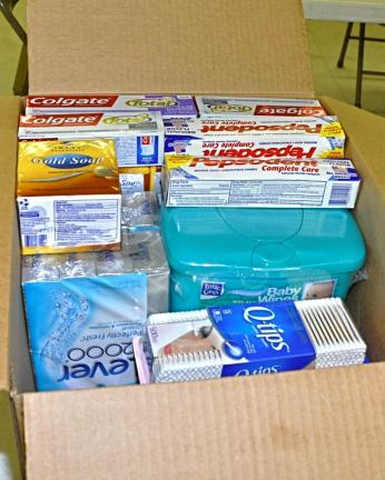 This is a typical box of mostly toiletries which has been collected by, and is being shipped by Albrightsville VFW Post 294 for shipment to one area soldier in Afghanistan or Iraq.