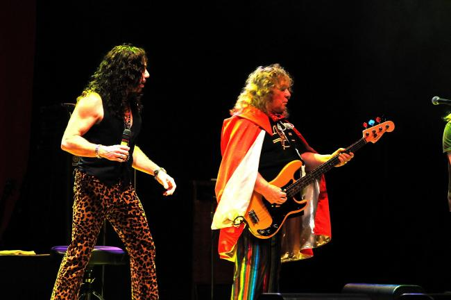 RON GOWER/TIMES NEWS Lead singer Joe Retta of the band Sweet, left, and founding member Steve Priest, the bass guitarist, perform at Penn's Peak in Jim Thorpe. Tonight at the Peak, Peter Noone and Herman's Hermits will be in concert at 8 p.m.