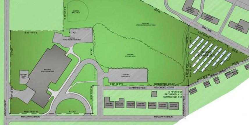 The proposal involves 676 solar panels to be placed east of the Rush Elementary School.