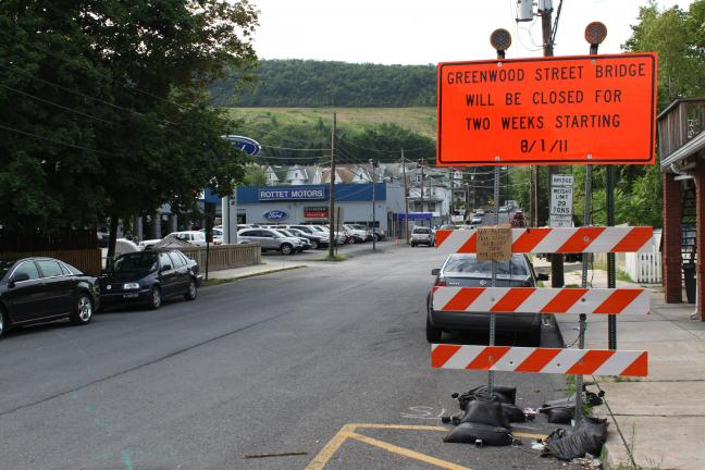ANDREW LEIBENGUTH/TIMES NEWS The Greenwood Street Bridge and that part of Greenwood Street will be closed for bridge repairs from August 1 to August 14.