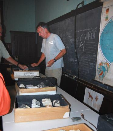 ELSA KERSCHNER/TIMES NEWS Jim Simpson brought part of his rock collection to the Kibler School for its Three Thursdays program.