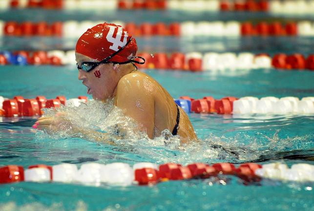 MIKE DICKBERND/IU SPORTS PHOTOGRAPHY  Allysa Vavra, shown competing at the Big Ten Championships earlier this year, had a fourth place finish in 400 IM at the ConocoPhillips USA National Swimming Championships Thursday.