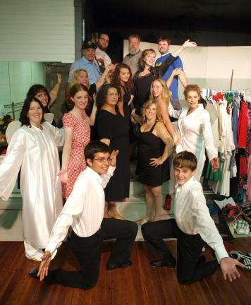 "AL ZAGOFSKY/TIMES NEWS The cast of ""Broadway on Broadway"" pose during a dress rehearsal."