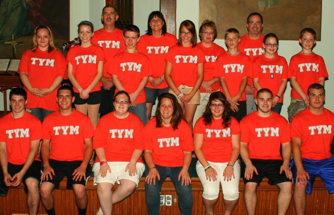 SPECIAL TO THE TIMES NEWS Tamaqua Youth Missionary members pictured from front left are Nick Hollenbach, Josh Nemeth, Victoria Preister, Cheyenne Johnson, Francesca Gerace, Anthony Iacoviello and Peter Conforti. Second row from left are Miranda…