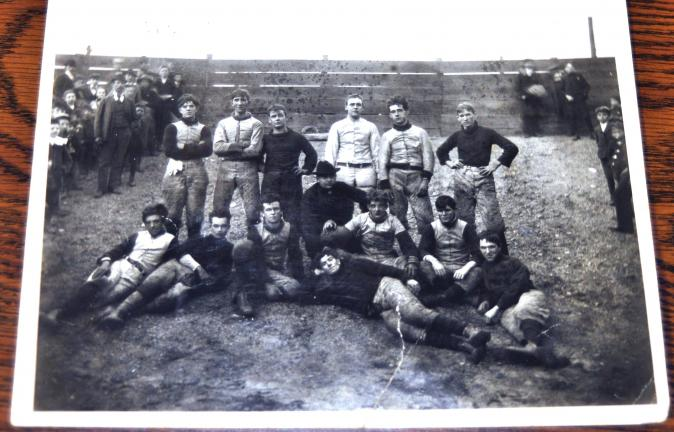 PHOTO COURTESY WILLIAM MORGANS  The only available photo of Lansford Policeman Morgan Morgans depicts him as part of this early Lansford football team. Morgans is seen standing in the back row wearing a light-colored uniform, fourth from the left.