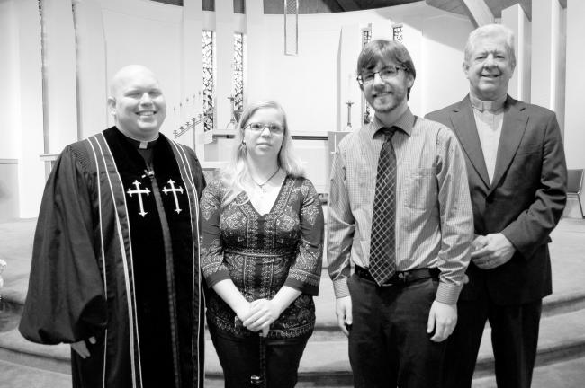 GAIL MAHOLICK/TIMES NEWS Scholarship Sunday was held recently at Trinity Evangelical Lutheran Church. Awarded scholarships for recipients to pursue religious studies were, from left, Kenneth Melber, Amanda Bernecker, and Daniel Eisenberg; and the…