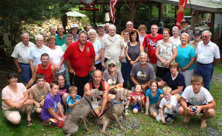 ANDREW LEIBENGUTH/TIMES NEWS Pictured are some of the local veterans who attended the Andreas VFW Post's free all-veterans picnic at Cheese's Grove in Andreas.