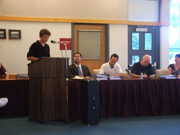 MICHAEL A. HEERY/SPECIAL TO THE TIMES NEWS At Monday evening's Lehighton Area School Board meeting, high school student Jeff Ebbert thanked board members, administrators, teachers, staff, and fellow students for their assistance in helping to raise…