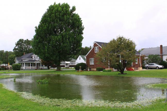 Andy Leibenguth/Time News Hurricane Irene turned this Hometown yard located on Cumberland Avenue into a small pond.