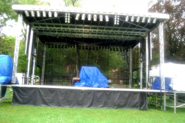 TERRY AHNER/TIMES NEWS The main stage is set up and ready to host performances from a variety of entertainers as part of the 22nd annual Palmerton Community Festival to be held Friday through Sunday in the borough park.