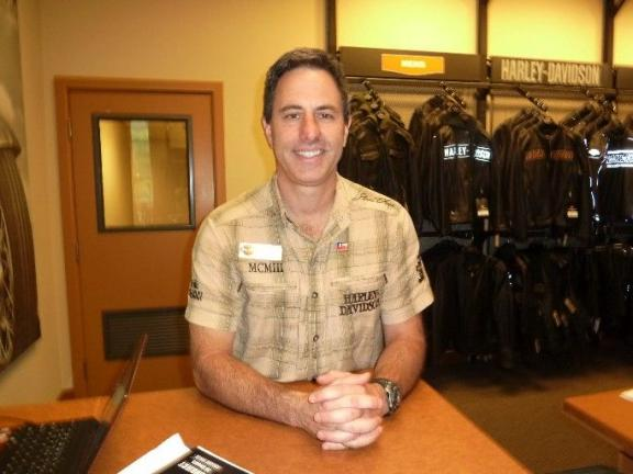 SUSAN LAYLAND/SPECIAL TO THE TIMES NEWS Bob Eggstein, Dealer/Owner of Keystone Harley Davidson in Parryville smiles after a very successful three-day grand opening celebration.