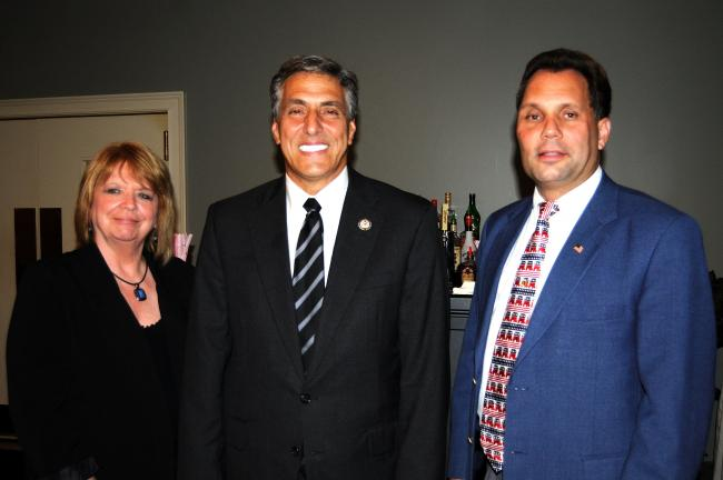 RON GOWER/TIMES NEWS U.S. Congressman Lou Barletta, center, was the main speaker at the fall rally of the Carbon County Republican Committee rally last night in Tresckow. He was introduced by MaryEllen Salerno, chairman of the Republican Committee…