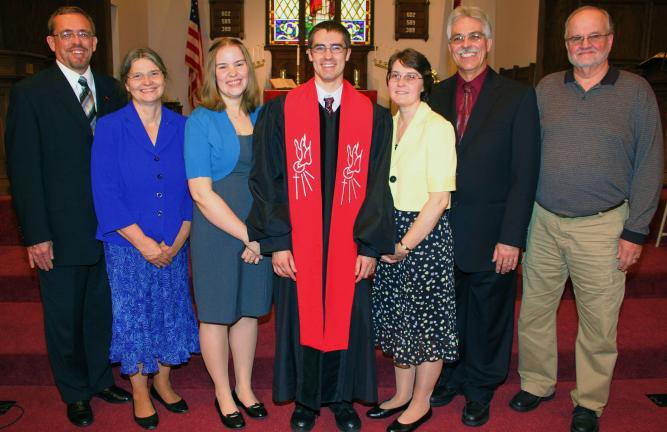 ANDREW LEIBENGUTH/TIMES NEWS From left are, the Rev. Alan Miller, Penn Northeast Conference minister; Christine Miller, Joint Board, St. Peter's Union Church; wife Breanna Rarick; the Rev. Gary Rarick; his parents Glenn and Sarah Rarick; and Ken…
