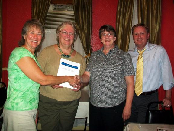 SPECIAL TO THE TIMES NEWS Palmerton Area Democratic Club Vice-President, Sandi Peters, left, welcomes new Democratic Club members Audrey Larvey, third from left, and Robert Jacobs, who came to the opening meeting Sept. 14 to hear Palmerton Area…