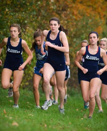 Tamaqua runners, from left, Kelsey Patrick, Amber Carroll and Cecily Kohlmeir lead a pack of runners up a hill during the early stages of Wednesday's cross country meet against Blue Mountain.