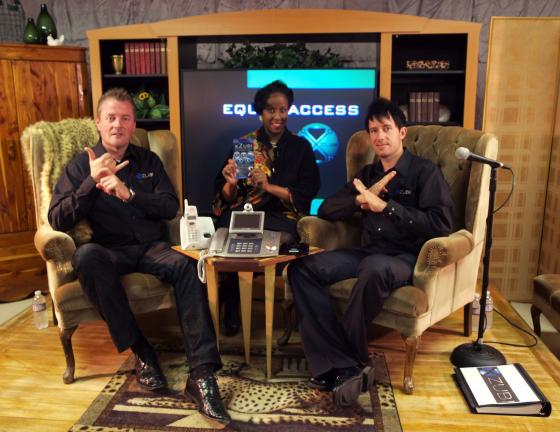AL ZAGOFSKY/SPECIAL TO THE TIMES NEWS Left and right: xZubi Technology cofounders John Wennerholm and Dustin McBride are interviewed by Theressa DuBois, host of Lehighton's Deaf Welcome Foundation Equal Access Sign Language Television show. On the…