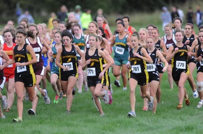 nancy scholz/times news Northwestern girls are grouped together in the front of the pack just after the start of the Colonial League cross country championship race. The Tigers won the team title.