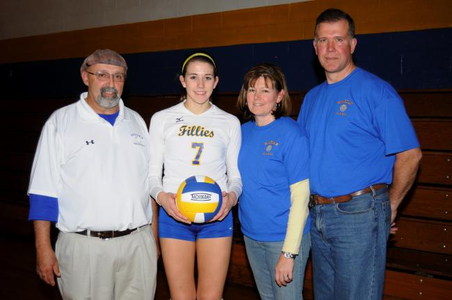 Ron Gower/times news @Caption Stand Alone:Fillies' Sherkness tops 1,000 kills Marian's Marykate Sherkness (second from left) passed the 1,000 kill mark during a recent match against Shenandoah. Sherkness, who became the all-time kill leader in…