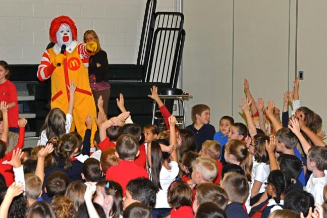 VICTOR IZZO/SPECIAL TO THE TIMES NEWS Ronald McDonald had no shortage of anxious volunteers to answer questions or help out with magic tricks and skits during his visit to the L.B. Morris Elementary School in Jim Thorpe.