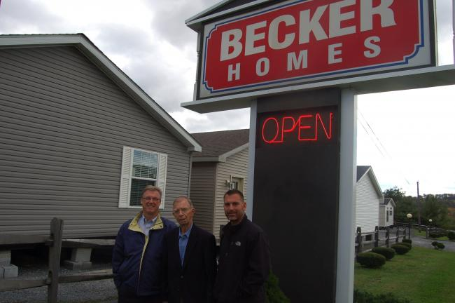 TERRY AHNER/TIMES NEWS Among the third generation family-run Becker Homes in Walnutport are (l-r) Carl Becker, co-owner, Richard Becker, owner, and David Becker, assistant manager.