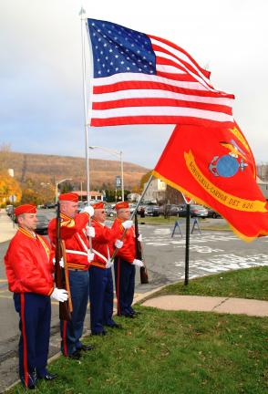 ANDREW LEIBENGUTH/TIMES NEWS Members of the Schuylkill Carbon Marine Corps League Det. 626 served as color guard during the Tamaqua High School Veterans Day program this morning.