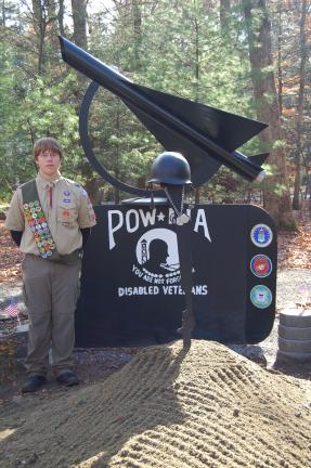 LINDA KOEHLER/TIMES NEWS Robert Nemecek of Boy Scout Troop #98, completed his Eagle Scout Service Project of renovating the POW/MIA Memorial at Chestnuthill Township Park.