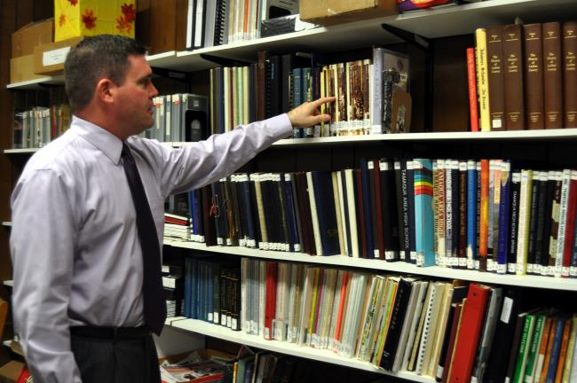 DONALD R. SERFASS/TIMES NEWS Eric Zizelmann, Tamaqua Public Library trustee, spearheaded the drive to create a Local History Collection at the facility, providing the foundation for local genealogical research.