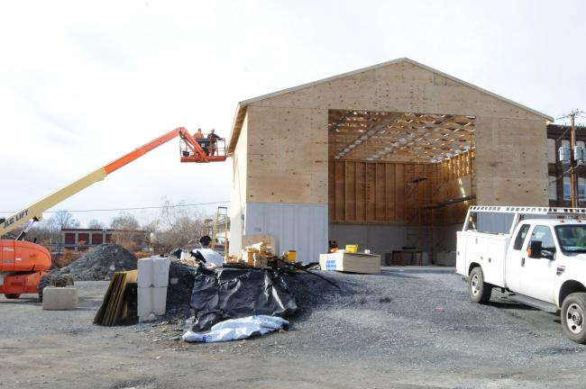 Ron Gower/TIMES NEWS A new salt shed, to hold anti-skid materials for Lehighton borough, is nearing completion.