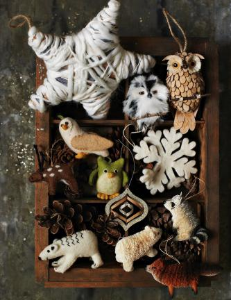 This product image courtesy of West Elm shows nature inspired ornaments including animals, snowflakes and pine cones. Winsome bottle-brush natural fiber ornaments, in animal shapes like foxes, bears, owls and raccoons can be charming decor for your…