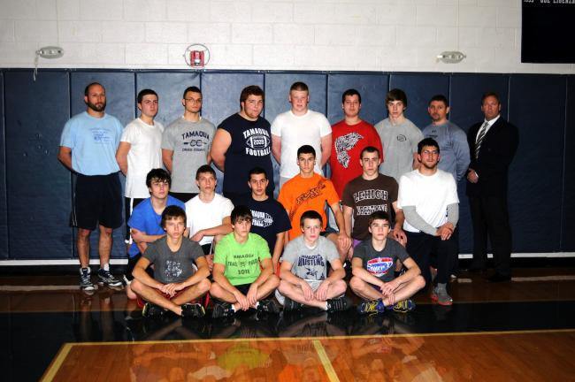 ron gower/times news Tamaqua's varsity wrestling squad consists of front row, from left, Joel Kulick, Steven Matukonis, Derek Hill, Colin Mashack. Kneeling, James Weeks, Nicholas Toth, Dustin Silkowski, Dylan Rynkiewicz, Brandan Silkowski, assistant…