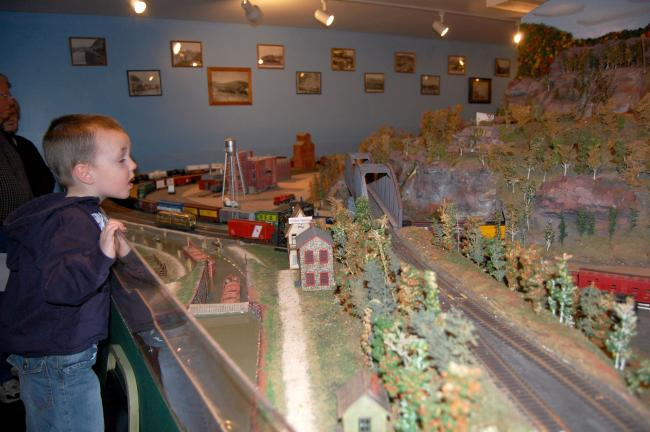 Ian Walck is termed a train fanatic by his mother and grandmother who brought him to the open house.