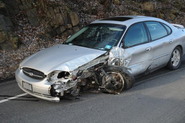 Larry Neff/Special to the Times News Maria Roseo of Kunkletown was the driver of this car which collided with another on the Mansion House Hill Monday morning.