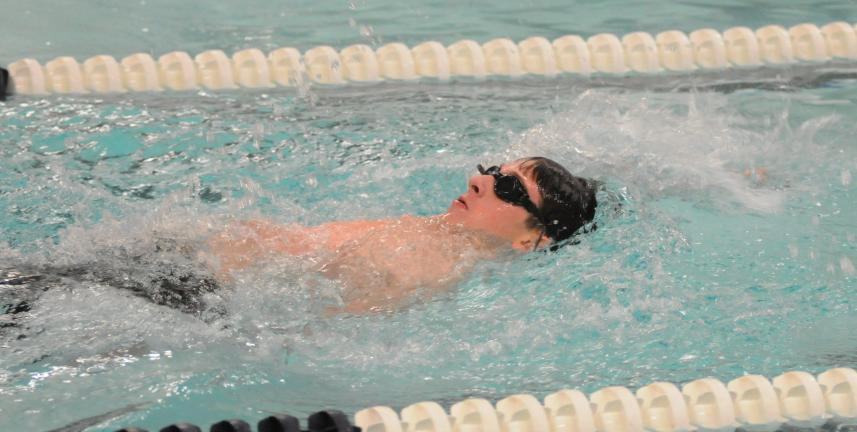 Tamaqua's Gage Whalen swims the backstroke during the 200 Individual Medley in Thursday's meet against Mahanoy Area. Whalen won the race in a time of 2:39.58. Ron Gower/ TIMES NEWS