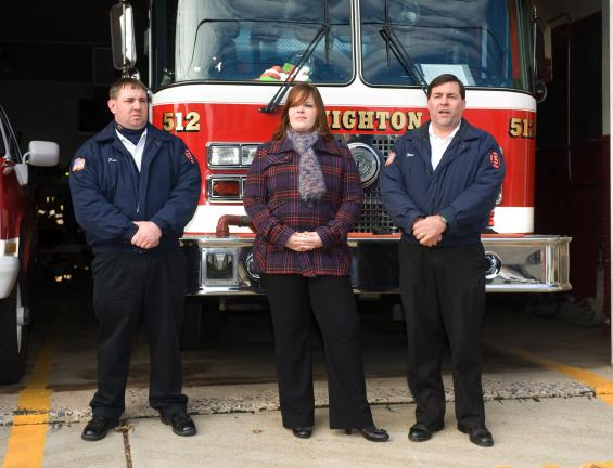 BOB FORD/TIMES NEWS Announcing that an expansion project of the Lehighton Fire Department is on-course are, l-r, Patrick Mriss, assistant fire chief; Nicole Beckett, Lehighton borough manager, and Steve Ebbert, president of the building committee…