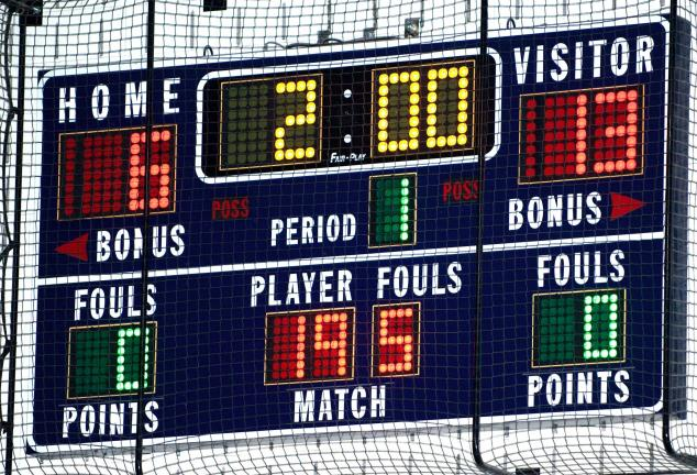 Bob Ford/TIMES NEWS The scoreboard displays the start of a 195-pound wrestling bout at one of the area schools. The 195-pound class is just one of 10 new weight classes in high school wrestling this season.