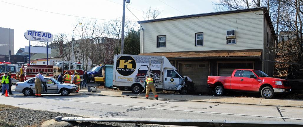Larry Neff/special to the times news This was the scene of Tuesday morning's multivehicle accident on Sgt. Stanley Hoffman Boulevard in Lehighton.