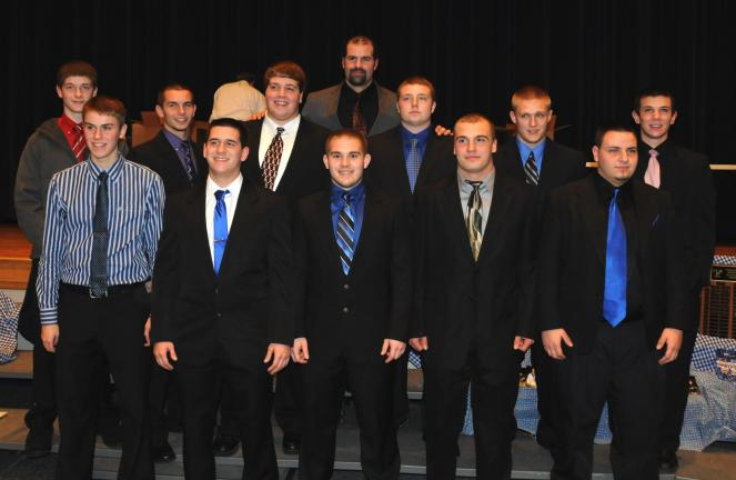 Larry Neff/Special to the TIMES NEWS @Caption Stand Alone:Tamaqua football seniors honored Senior members of the Tamaqua football team were recognized at an awards program. They included, front row from left, Lance Williams, Josh Nemeth, Anthony…