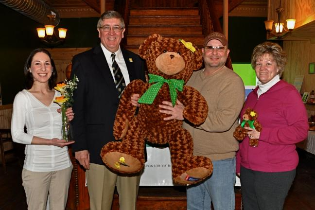 "victor izzo/special to the times news The Shar N. Hope bear is one headliner for this year's ""Daffodil Days"" event of the Carbon-Tamaqua Unit of the American Cancer Society. Shown at the fundraising event in Jim Thorpe are, left to right: holding a …"